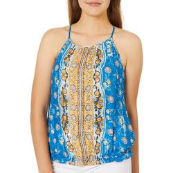 Rewind Juniors Floral Print Tie Back Tank Top