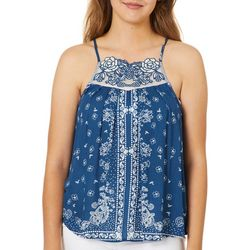 Rewind Juniors Floral Embroidered Paisley Print Tank Top