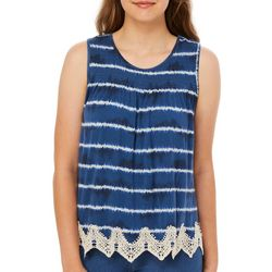 Rewind Juniors Tie Dye Stripe Crochet Trim Tank Top