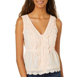 Miss Chievous Juniors Scalloped Crochet Babydoll Tank Top