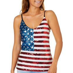 Miss Chievous Juniors Sequin Americana Tank Top
