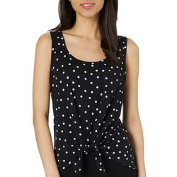 Rebellious One Juniors Polka Dot Tie Front Tank Top