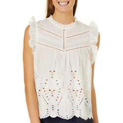 Honey & T Juniors Ruffled Eyelet High Neck Top