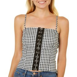 Liberty Love Juniors Gingham Corset Tank Top