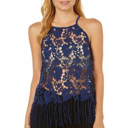 Ultra Pink Juniors Crochet Fringe Trim Tank Top