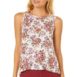 No Comment Juniors Floral Keyhole Necklace Sleeveless Top