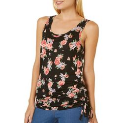No Comment Juniors Blooming Floral Drawstring Cinch Tank Top