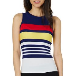 Derek Heart Juniors Cropped High Neck Striped Tank Top