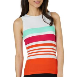 Derek Heart Juniors Cropped Striped High Neck Tank Top