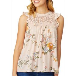 Wallflower Juniors Rose Floral Lace Yoke Ruffle Tank Top