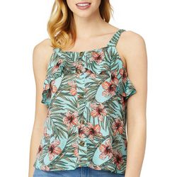Wallflower Juniors Floral Print Button Front Ruffle Tank Top