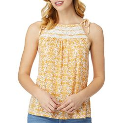 Wallflower Juniors Geo Floral High Neck Sleeveless Top