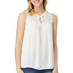 Wallflower Juniors Solid Lace Detail Sleeveless Peasant Top