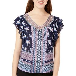 Almost Famous Juniors Mixed Floral Ruffle Sleeve Top