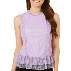 Almost Famous Juniors Floral Lace Ruffle Top
