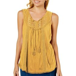 Almost Famous Juniors Crochet Pom Pom Tassel Top