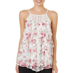 Almost Famous Juniors Tiered Floral Lace Top