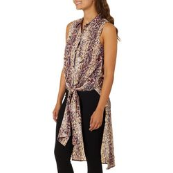 Almost Famous Juniors Faux Snake Skin Print Tie Front Top