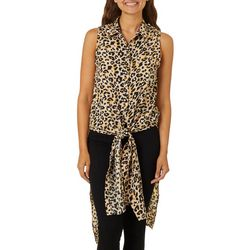 Almost Famous Juniors Cheetah Print Tie Front Top