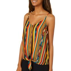 Almost Famous Juniors Mixed Stripe Sleeveless Top