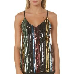Almost Famous Juniors Embellished Disco Tank Top