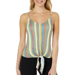 Polly & Esther Juniors Vertical Stripe Tie Front Tank Top