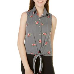 Polly & Esther Juniors Floral Striped Tie Front Tank Top