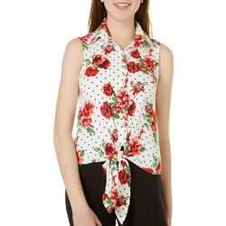 Polly & Esther Juniors Floral Polka Dot Tie Front Tank Top
