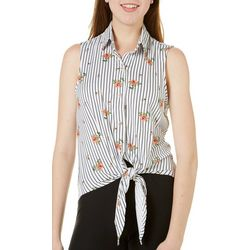 Polly & Esther Juniors Striped Floral Button Down Tank Top