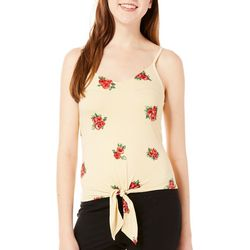 Polly & Esther Juniors Striped Rose Tie Front Tank Top