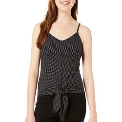 Polly & Esther Juniors Polka Dot Tie Front Tank Top