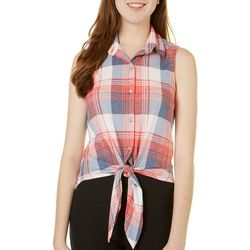 Polly & Esther Juniors Plaid Tie Front Tank Top