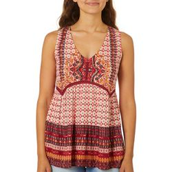 Angie Juniors Mixed Boho Print Crochet V-Neck Tank Top