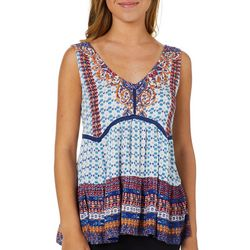 Angie Juniors Boho Print Crochet V-Neck Tank Top