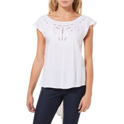 Angie Juniors Embroidered Mesh High-Low Top