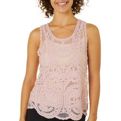 Say What? Juniors Floral Lace Tank Top Overlay