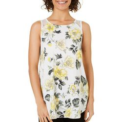 Be Bop Juniors Sketched Floral Print Tunic Tank Top