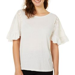 Coco & Jamieson Juniors Solid Eyelet Ruffle Top