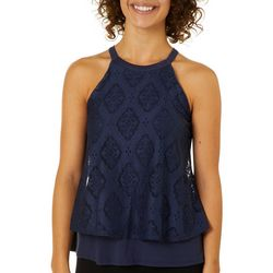 Eyeshadow Juniors Layered Lace Tank Top