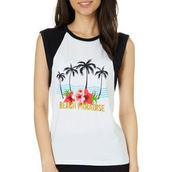 Messy Buns, Lazy Days Juniors Beach Paradise Tank Top