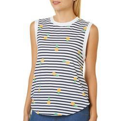 Messy Buns, Lazy Days Juniors Striped Pineapple Tank Top