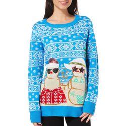 Poof Juniors Sunshine Snowmen Sweater