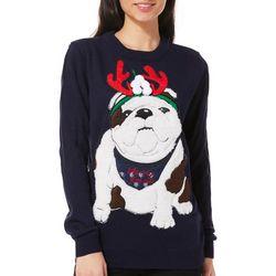 Poof Juniors Merry Xmas Bulldog Sweater