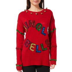 Poof Juniors Embellished Jingle Bells Sweater