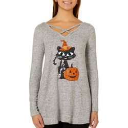 Poof Juniors Sequin Halloween Cat Top