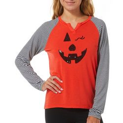 Poof Juniors Embellished Jack-O-Lantern Long Sleeve Top