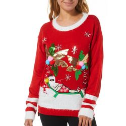 Poof Juniors Embellished Palm Tree Santa Sweater