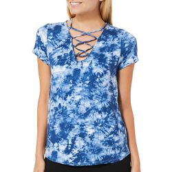 Poof Juniors Tie Dye Lace-Up T-Shirt
