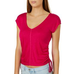 H.I.P. Juniors Solid Ruched Side V-Neck Top