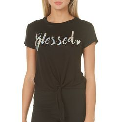 Miss Popular Juniors Blessed Tie Front T-Shirt